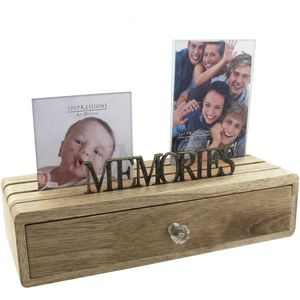 Juliana Impressions Wooden Storage Drawer with Two Photo Frames - Memories