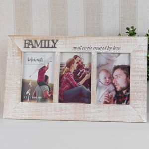 Moments Triple Wooden Photo Frame - Family