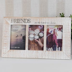 "Celebrations Moments Wooden Triple Photo Frame 4x6"" - Friends"