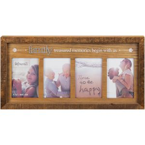 Moments Wooden Multi Photo Frame - Family Treasured