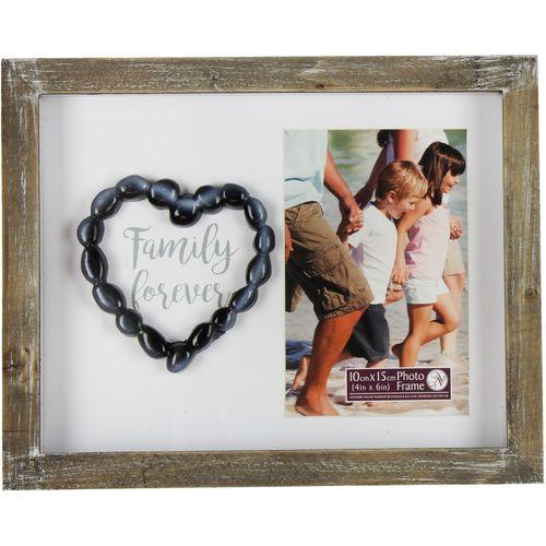 """Pebble Art Photo Frame 4"""" x 6""""  - Family Forever"""