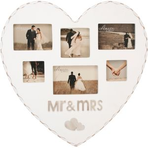 Amore Heart Shaped Multi Photo Frame - Mr & Mrs