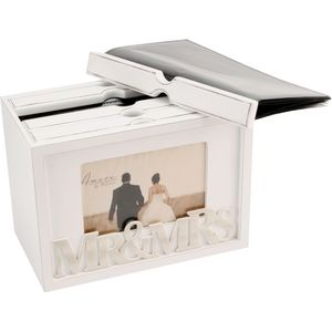 "Amore Wedding Photo Box Holds 80 7"" x 5"" Prints - Mr & Mrs"