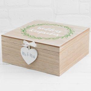 Love Story Wedding Keepsake Box Laurel Leaf Design