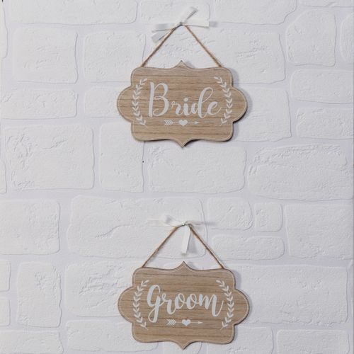 Celebrations Love Story Set of 2 Plaques - Bride & Groom