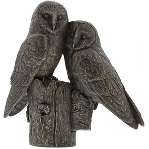 Border Fine Arts Studio Bronze Pair of Owls Figurine
