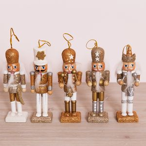 Wooden Golden Nutcracker Hanging Decorations - Pack of 5