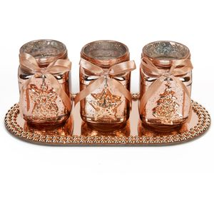 Set of 3 Rose Gold Candle Holders