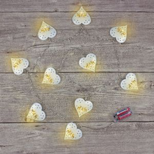 Christmas Lights - LED String Lights with Metal Cut Out Hearts