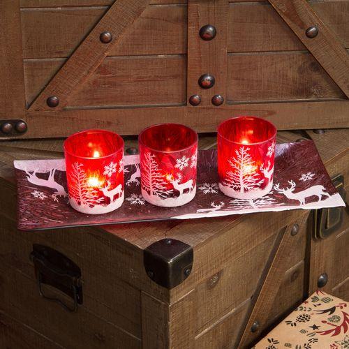 Christmas Reindeer Set of 3 Red Glass Tea Light Candle Holders & Display Tray