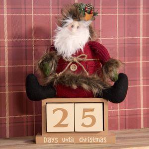 Christmas Decoration - Countdown Advent Calendar Sitting Plush Santa