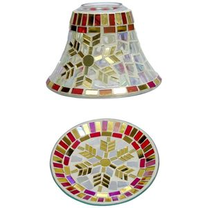 Cello Jar Candle Shade & Plate Set: Festive Flurry