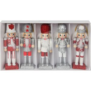 Christmas Tree Hanging Decorations - Wooden Nutcracker Pack of 5 Assorted