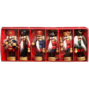 Set of 6 Wooden Nutcracker Soldiers Tree Decorations