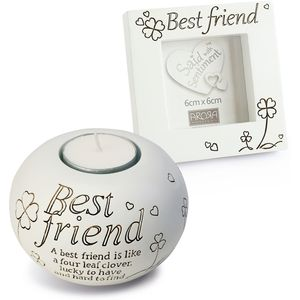 Said with Sentiment Candle Holder & Frame: Best Friend