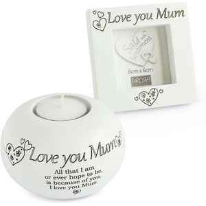 Said with Sentiment Candle Holder & Frame: Love You Mum