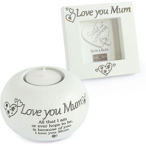 Said with Sentiment Tea Light & Frame Gift Set: Love You Mum