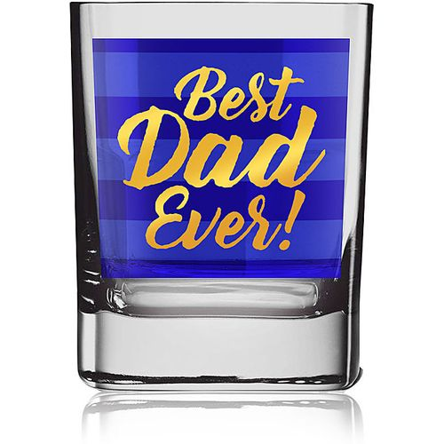 Gold Blue Glass Tumbler - Best Dad Ever!