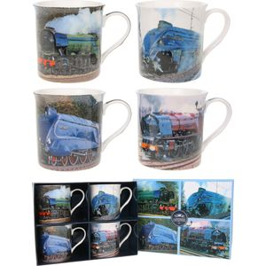 Classic Set of 4 Fine China Mugs Locomotive