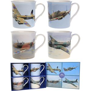 Leonardo Classic 4 Fine China Mugs Set - Planes