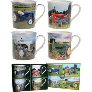 Classic Set of 4 Mugs Tractors design