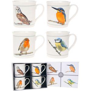 British Birds Set of 4 Fine China Mugs