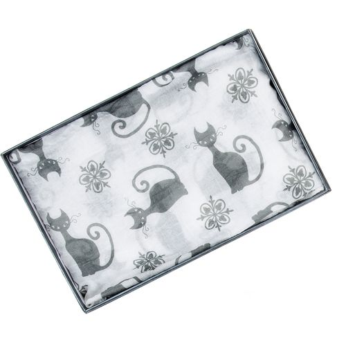 Equilibrium Modern Cats Printed Scarf (White)