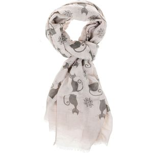 Equilibrium Modern Cats Printed Scarf - Beige/Grey