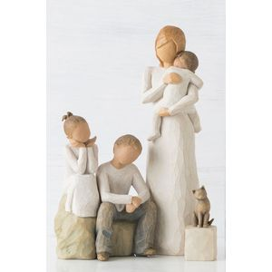 Willow Tree Figurines Set Mother with Three Children & Pet Cat