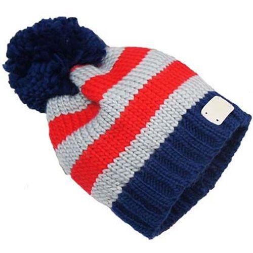 Grey & Blue Bobble Hat - Small