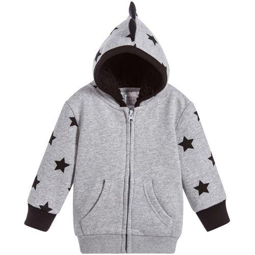 Grey Marl Star Hoodie - 0-6 Months