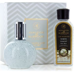 Fragrance Lamp Gift Set Grey Speckle & White Velvet