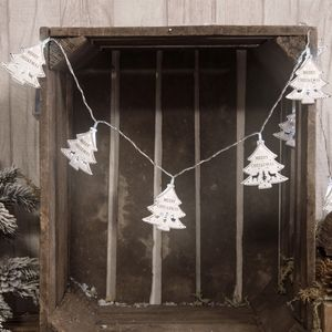 Christmas Lights - LED String Lights with Metal Cut Out Christmas Trees