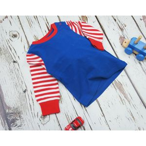 Blade & Rose Blue Red & White Striped Sleeve Top