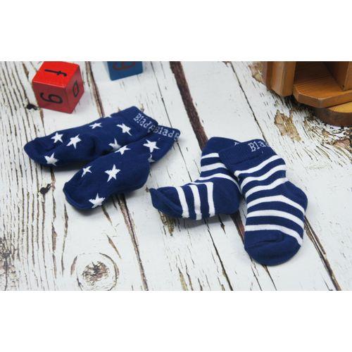 Blade & Rose Navy & White Striped Socks - 0-6 Months