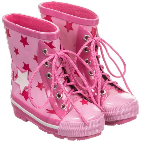 Girls Pink Star Wellington Boots - Size UK 3