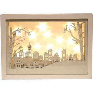 Christmas Decoration - LED Light Up Musical Window Scene with Urban Village