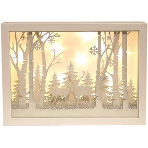 Christmas Decoration - LED Light Up Musical Window Scene of Reindeer in Woodland