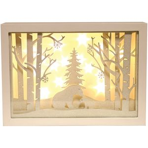 Christmas Decoration - LED Light Up Musical Window Scene with Bears in Woodland