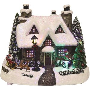 LED Fibre Optic Light Up House with Christmas Scene