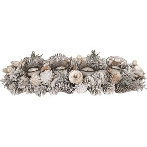 Tealight Candle Holder Centrepiece (4pc): Frost & Berry