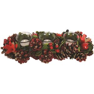 Tealight Candle Holder Centrepiece (3pc): Festive Red