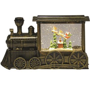 LED Glitter Train Santa in Sleigh Scene (Water Spinner)