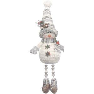 Christmas Decoration - Plush Sitting Snowman with Dangly Legs 28cm (Grey)