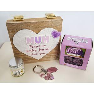 Mum Gift Set: Keepsake Box Keyring Tea Lights Handcream