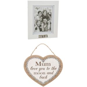 Mum Photo Frame With Hanging Plaque Gift Set
