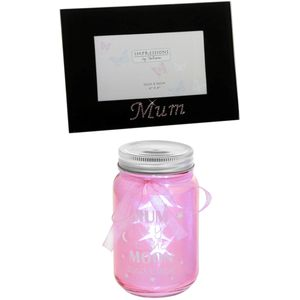Mum Gift Set: Photo Frame & Light Up Sentiment Jar