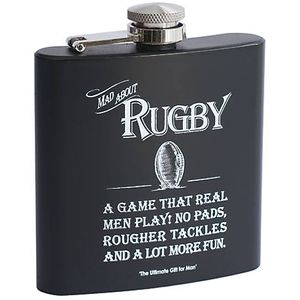 Ultimate Man Gift Hip Flask - Mad About Rugby