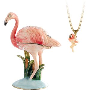 Hidden Treasures Secrets Flamingo Trinket Box