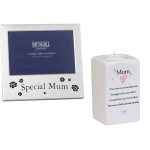 Mum Gift Set: Photo Frame & Tea Light Candle Holder
